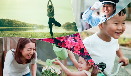 A collage including a person doing yoga in a park, a mother and daughter gardening together, and a smiling child riding a bicycle